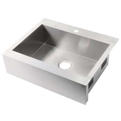 Vault Stainless Steel 30 in. 1-Hole Single Bowl Farmhouse Apron Kitchen Sink