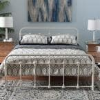 Mandy Vintage Industrial White Finished Metal Full Size Bed