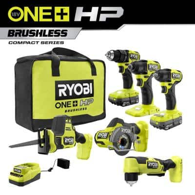 ONE+ HP 18V Brushless Cordless Combo Kit (6-Tool) with (2) 1.5 Ah Batteries, Charger, and Bag