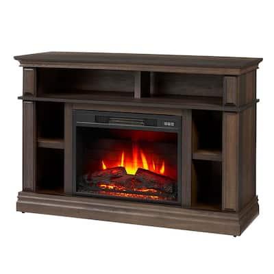 Wolcott 48 in. Media Console Electric Fireplace in Brown Oak