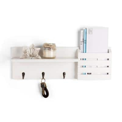 Maison 18 in. x 4.25 in. White Utility Shelf with Pocket and Hanging Hooks