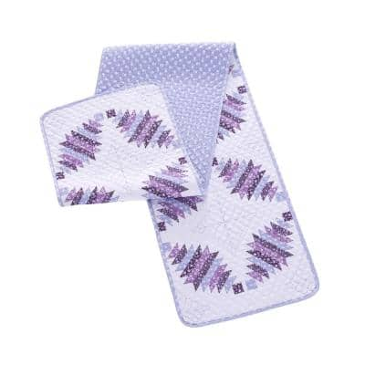 Cathedral Window 14 in. W x 72 in. L Plum Quilted Microfiber Table Runner