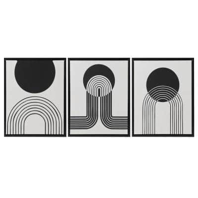 Cosmic Curl 3-Piece Black/Taupe Framed Canvas Set