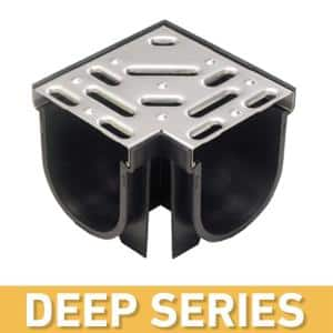 Deep Series 90° Corner for 5.4 in. Trench and Channel Drain System w/ Stainless Steel Grate