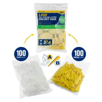 LASH Tile Leveling System Project Pack - 100 1/16 in. Leveling Clips and 100 Wedges (200-Piece)