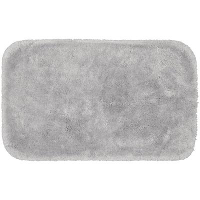 Finest Luxury Platinum Gray 24 in. x 40 in. Plush Nylon Bath Mat