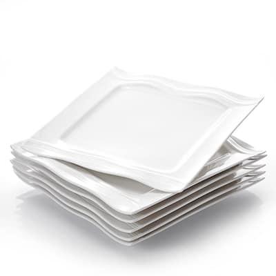 "Mario 7.25"" Ivory White Porcelain Dessert Plates(Set of 6)"
