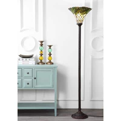 Botanical Tiffany-Style 71 in. Bronze Torchiere Floor Lamp