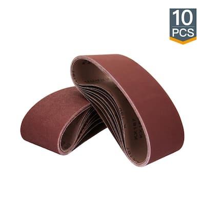 3 in. x 18 in. 320-Grit Aluminum Oxide Sanding Belt (10-Pack)