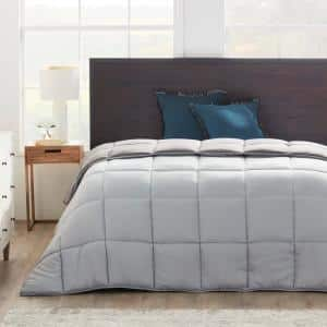 Down Alternative Reversible Quilted Oversized King Comforter in Stone/Charcoal