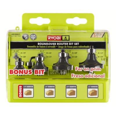 Roundover Router Bit Set (4-Piece)