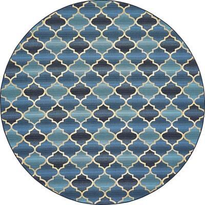 Outdoor Eden Trellis Blue 8' 0 x 8' 0 Round Rug