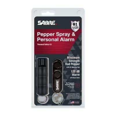 Personal Safety Kit Pepper Spray with Key Ring and Personal Alarm - Black