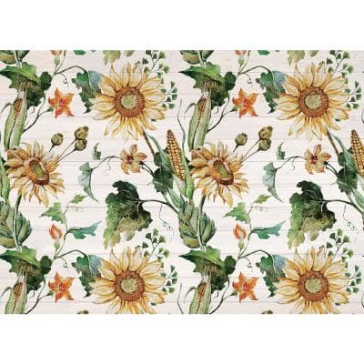 Autumn Sunflower Vine 18 in. x 13 in. Green Polypropylene Placemats (Set of 4)