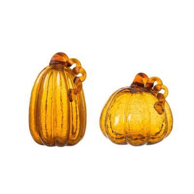 S/2 9.06 in. Amber Crackle Glass Pumpkin