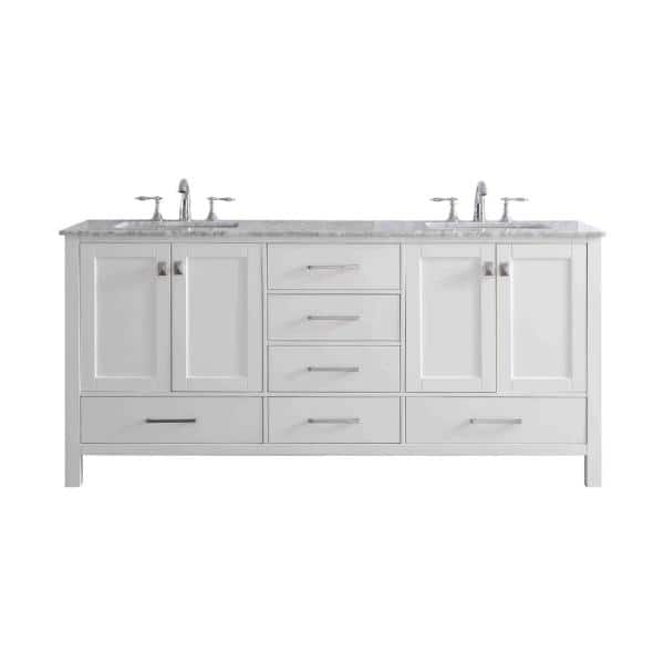 Eviva Aberdeen 78 In W X 22 In D Vanity In White With Solid Wood Vanity Top In Grey With White Basin Evvn412 78wh The Home Depot