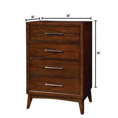Snyder 4 Drawer Brown Cherry Transitional Style Chest of Drawers