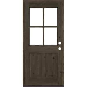 36 in. x 80 in. Knotty Alder Left-Hand/Inswing 4-Lite Clear Glass Black Stain Wood Prehung Front Door