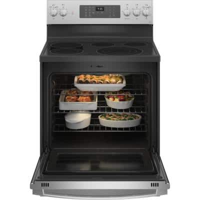 Profile 30 in. 5.3 cu. ft. Electric Range with Self-Cleaning Convection Oven and Air Fry in Stainless Steel