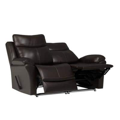 64.5 in. Coffee Brown Solid Fabric 2-Seat Reclining Wall Hugger Home Theater Loveseat with Armrests