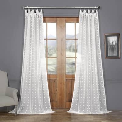 Strasbourg Dot Geometric Rod Pocket Sheer Curtain - 50 in. W x 84 in. L