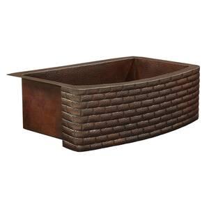 Donatello Farmhouse Apron Front 33 in. Single Bowl Copper Kitchen Sink Bow Front Brick Design