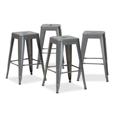 Horton 26 in. Grey Backless Metal Counter Height Bar Stool (Set of 4)