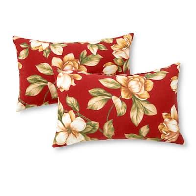 Roma Floral Lumbar Outdoor Throw Pillow (2-Pack)