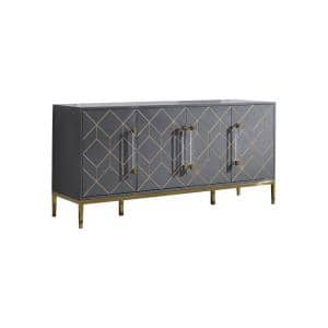 Aruna 65 in. Gray High Gloss with Gold Accent Modern-Sideboard