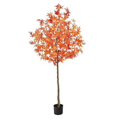 6 ft. Orange Autumn Maple Artificial Tree