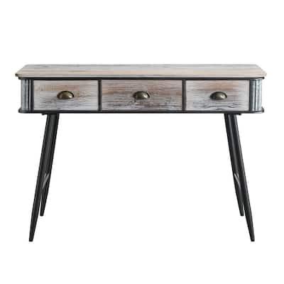 47 in. Rectangular Gray Wash/Black 3-Drawer Metal Writing Desk