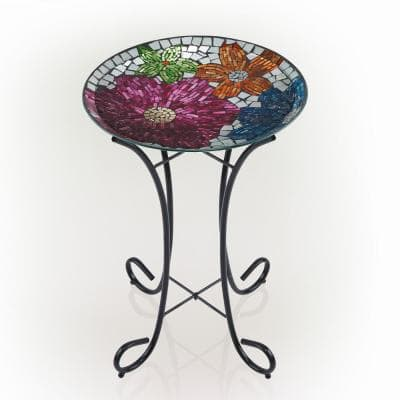 24 in. Tall Outdoor Floral Glass Birdbath Bowl with Metal Stand, Multicolor