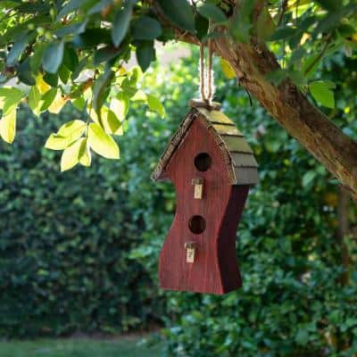 17 in. Tall Outdoor Abstract Swirly Hanging Wooden Birdhouse, Red