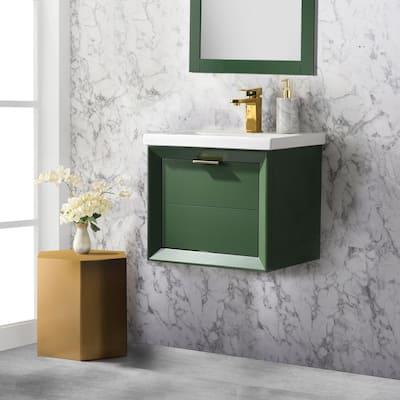 Danbury 20 in. W x 15.7 in. D Bath Vanity in Green with Porcelain Vanity Top in White with White Basin