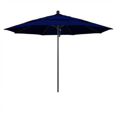 11 ft. Stone Black Aluminum Market Patio Umbrella with Pulley Lift and Fiberglass Ribs in True Blue Sunbrella