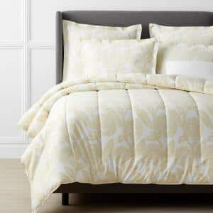 Legends Hotel Stencil Damask Pale Yellow Floral King Sateen Comforter
