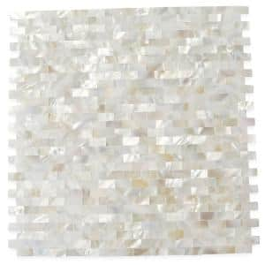 Mother of Pearl Serene White Bricks Seamless 12 in. x 12 in. Pearl Shell Glass Wall Mosaic Tile