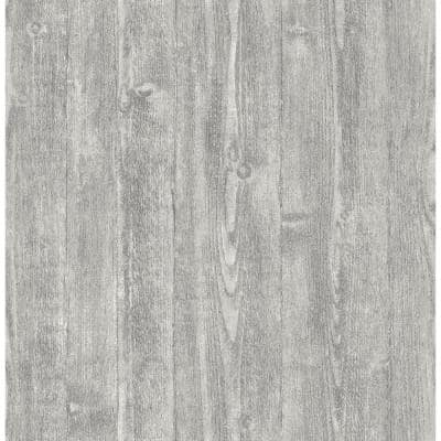 Portland Wood Peel and Stick Wallpaper Grey Vinyl Peelable Roll (Covers 28.2 sq. ft.)