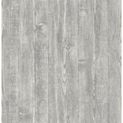 Grey Portland Wood Peel and Stick Wallpaper 8-in. x 10-in. Sample Grey Wallpaper Sample