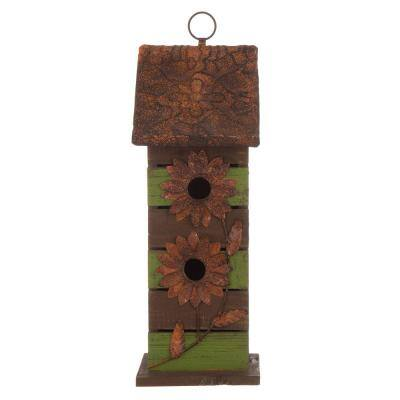 14.5 in. H Hanging 2-Tiered Distressed Solid Wood Birdhouse With Flowers