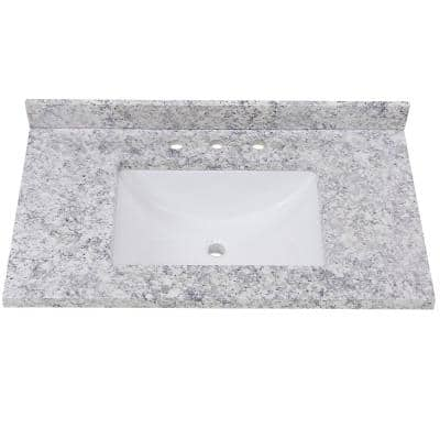 37 in. Stone Effect Vanity Top in Everest with White Sink