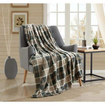 Green and Taupe Plaid 50 in. x 60 in. Throw Blanket