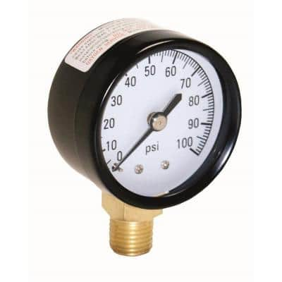 100 PSI Pressure Gauge with 1/4 in. Lower Connection
