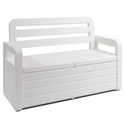 70 Gal. White Foreverspring Deck Patio Garden Storage Box Chest Bench