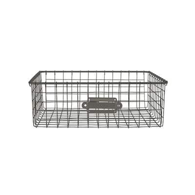 12 in. D x 9 in. W x 4 in. H Industrial Gray Vintage Steel Wire Storage Basket