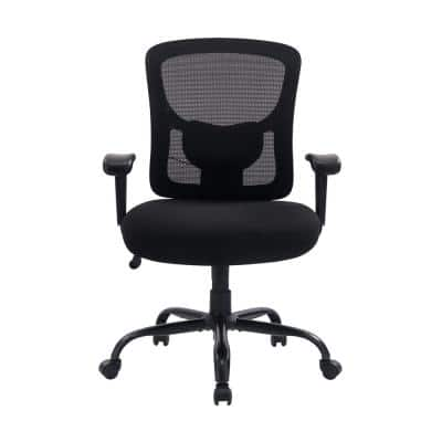 400lb Weight Capacity Heavy Duty Large Tall Black Mesh Chair with adjusted Armrest