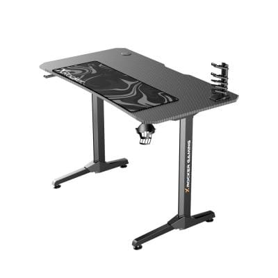 Gray Panther Gaming Desk with XL Mousepad and Game Holder, 44 in. D x 30 in. H x 24 in. W
