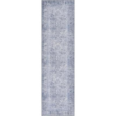 Nile Gila Vintage Bohemian Medallion Botanical Border Grey 2 ft. x 7 ft. Machine Washable Flatweave Runner Rug