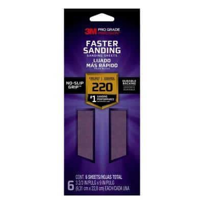 Pro Grade Precision 3-2/3 in. x 9 in. 220 Grit Fine Faster Sanding Sheets (6-Pack)