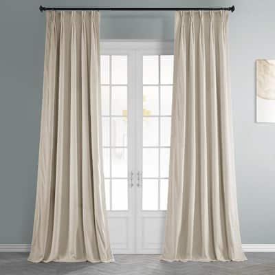 Alabaster Beige Velvet Pinch Pleat Blackout Curtain - 25 in. W x 84 in. L